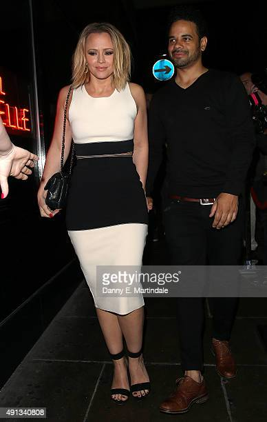 Kimberley Walsh and Justin Scott attends Nicola Roberts birthday at the Hotel Chantelle on October 4 2015 in London England