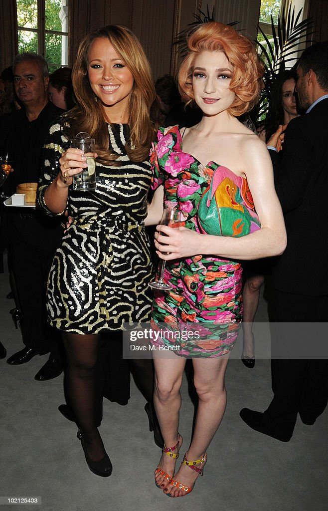 Kimberley Walsh (L) and Nicola Roberts attend the Lucian Grainge VIP Party on June 15, 2010 in London, England.