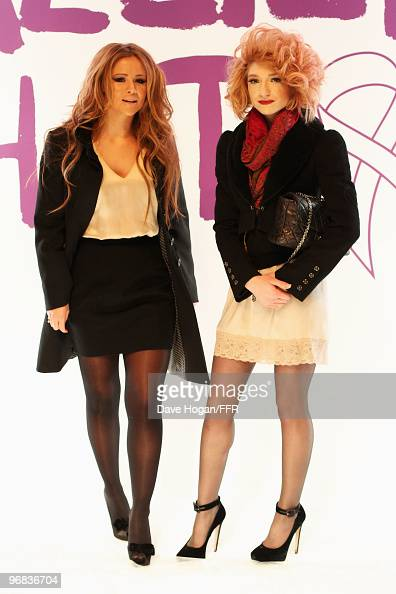 Kimberley Walsh and Nicola Roberts of Girls Aloud during rehearsals for Naomi Campbell's Fashion For Relief Haiti London 2010 Fashion Show at...