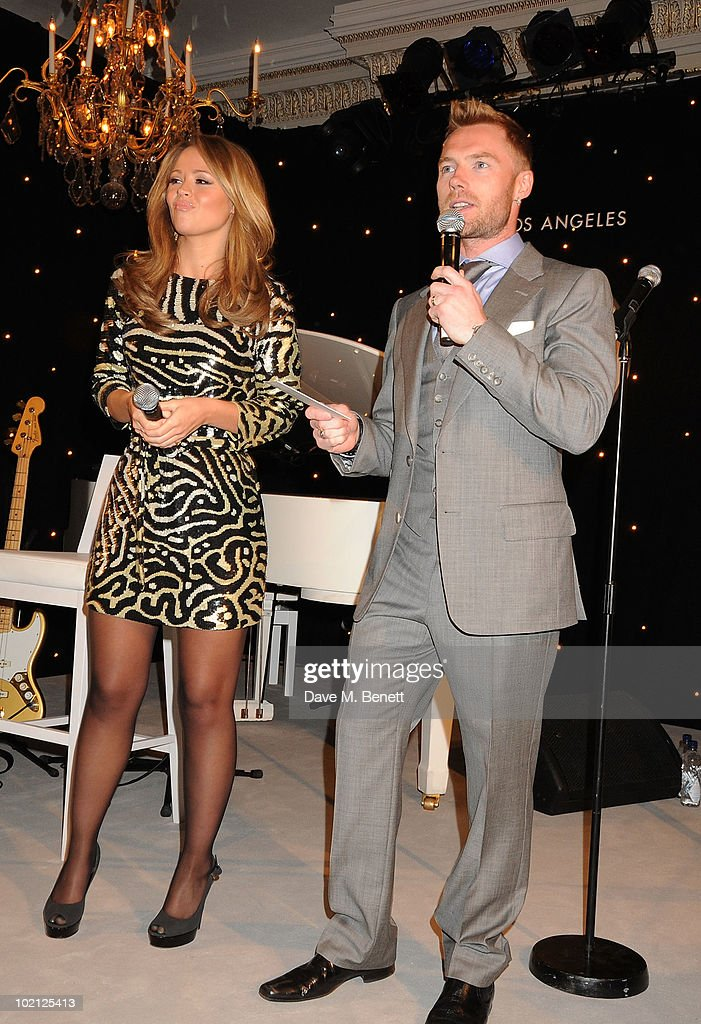 Kimberley Walsh (L) and Ronan Keating attend the Lucian Grainge VIP Party on June 15, 2010 in London, England.