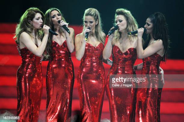 Kimberley Walsh Nicola Roberts Nadine Coyle Cheryl Cole and Sarah Harding of Girls Aloud perform on stage on the first night of their 'Girls Aloud...