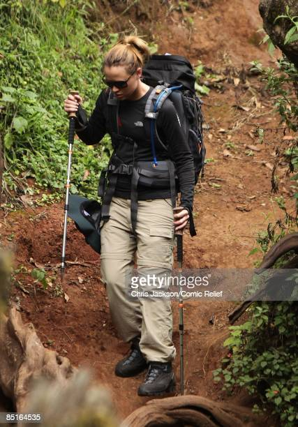 Kimberley Walsh of Girls Aloud treks through the rainforest on the first day of The BT Red Nose Climb of Kilimanjaro on March 1 2009 in Arusha...