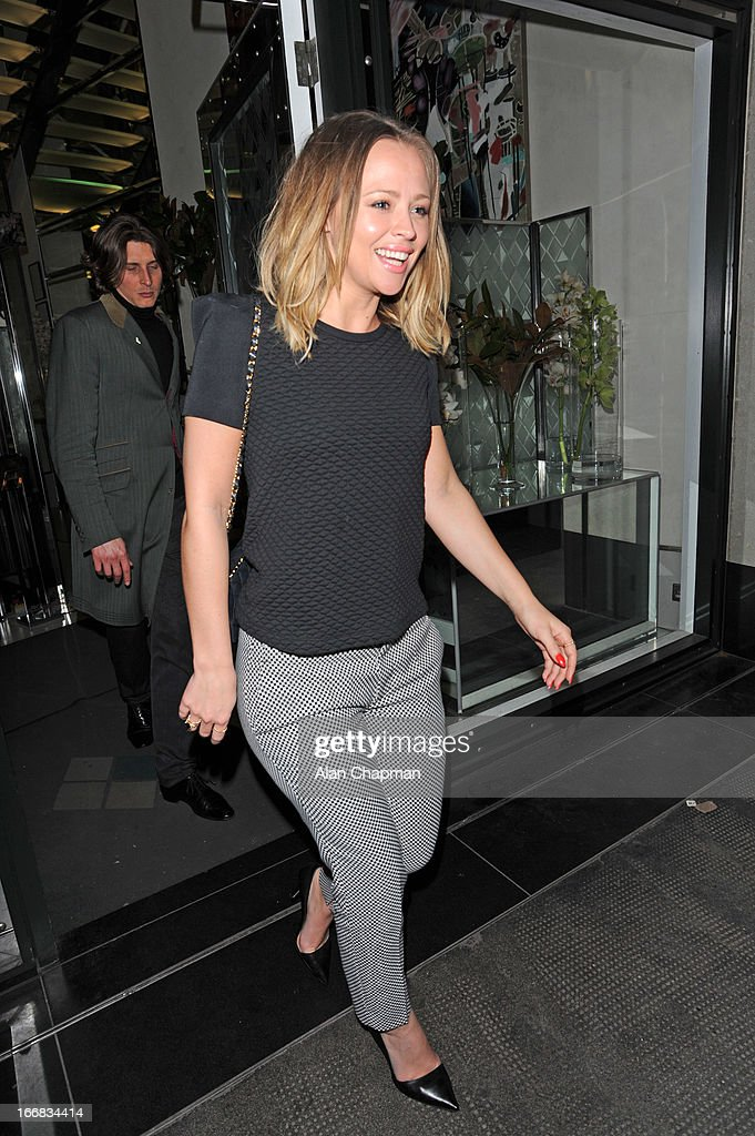 Kimberley Walsh seen leaving The Club at The Ivy on April 17, 2013 in London, England.