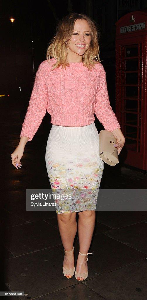 Kimberley Walsh sighting at St Martin Lane Hotel on April 24, 2013 in London, England.