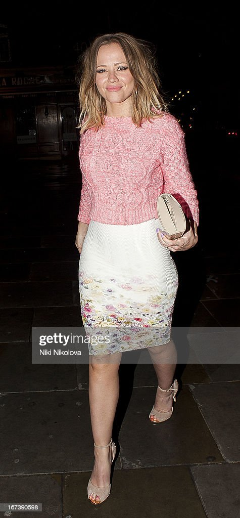 Kimberley Walsh sighting at the St Martins Lane hotel on April 24, 2013 in London, England.