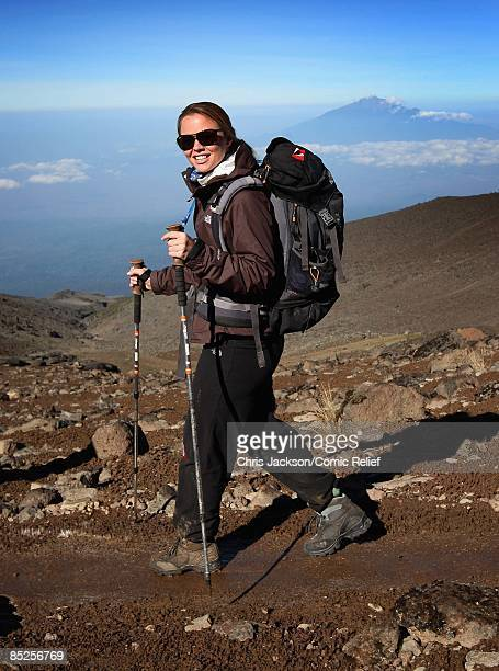Kimberley Walsh treks on the fifth day of The BT Red Nose Climb of Kilimanjaro on March 5 2009 near Arusha Tanzania Celebrities Ronan Keating Gary...