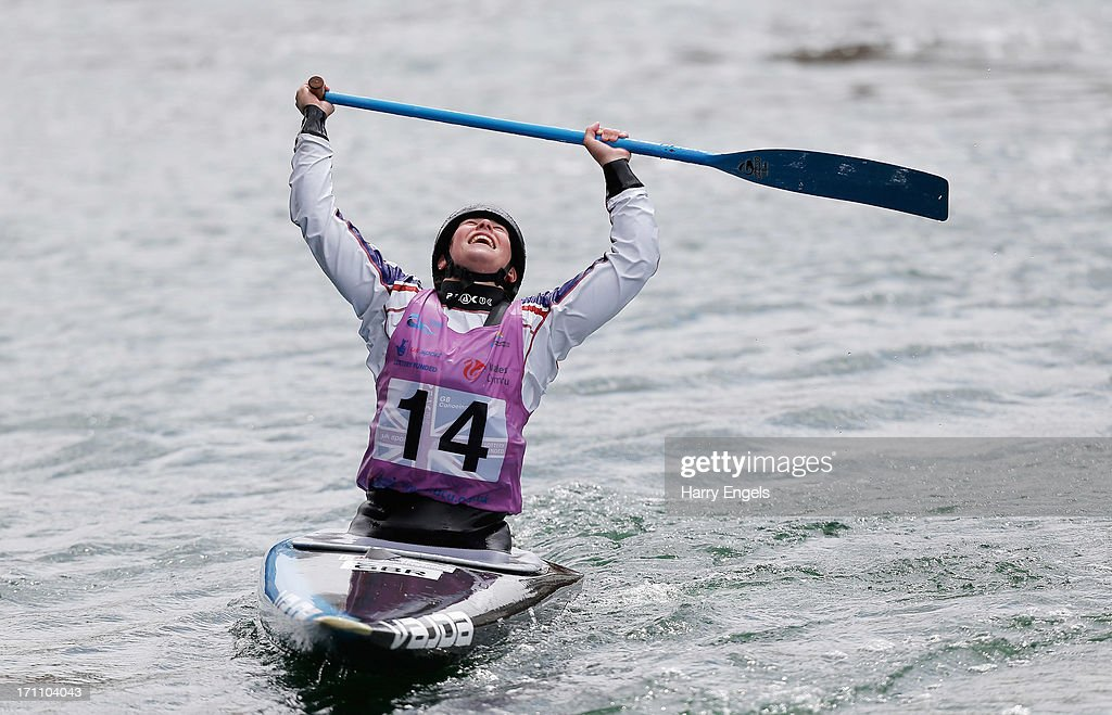Kimberley Woods of Great Britain celebrates winning the Women's C1 Final during the Canoe Slalom World Cup at Cardiff Bay on June 22, 2013 in Cardiff, Wales.
