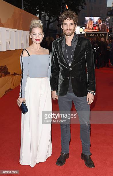 Kimberley Wyatt and Max Rogers attend the European premiere of 'The Martian' at Odeon Leicester Square on September 24 2015 in London England