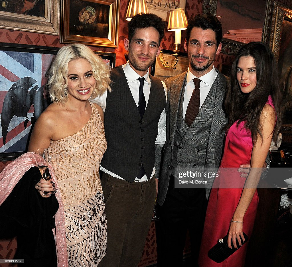 Kimberley Wyatt, Max Rogers, David Gandy and Sarah Ann Macklin attend the Esquire and Tommy Hilfiger party celebrating London Collections: MEN AW13, hosted by Esquire editor Alex Bilmes and Tommy Hilfiger, at the Zetter Townhouse on January 7, 2013 in London, England.