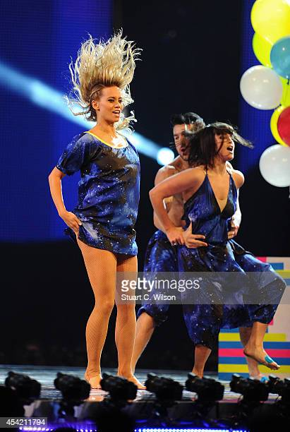 Kimberley Wyatt performs during the second live show of 2014's 'Got To Dance' at Earls Court on August 26 2014 in London England