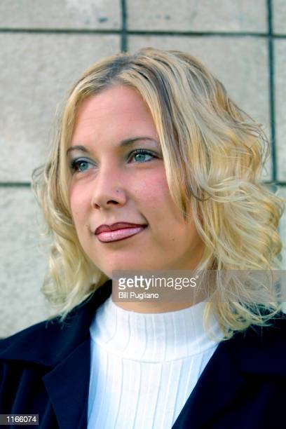 Kimberly Anne Mathers stands outside of court after attending a hearing on charges of disturbing the peace in October 2 2001 at the 37th District...