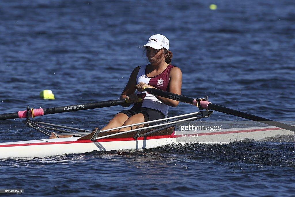 Kimberly Bennett of Sacred Heart Girls College competes in the girls under-17 single sculls during the New Zealand Junior Rowing Regatta on February 24, 2013 in Auckland, New Zealand.