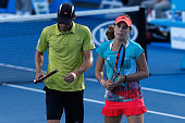 Kimberly Birrell and John Millman of Australia during their first round mixed doubles match against YungJan Chan and Rohan Bopanna of India during...