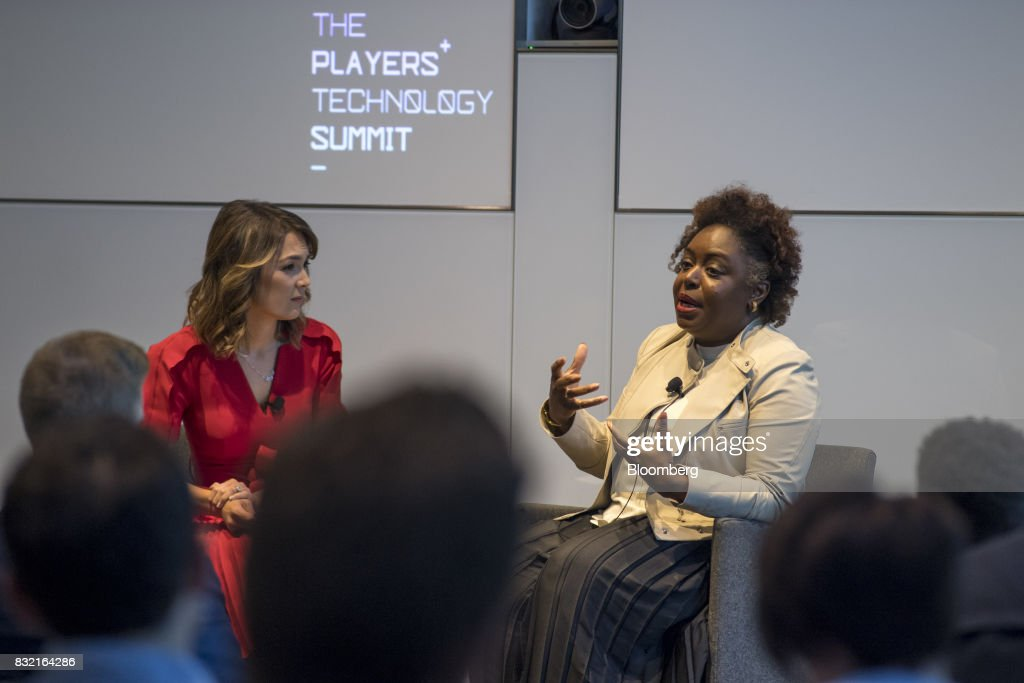 Kimberly Bryant, founder and chief executive officer of Black Girls Code Inc., right, speaks during The Players Technology Summit in San Francisco, California, U.S., on Tuesday, Aug. 15, 2017. Top leaders in the tech community and venture capital met with professional athletes to exchange ideas and share expertise through panels, discussions and interactive networking to help athletes take control of their careers as business professionals. Photographer: David Paul Morris/Bloomberg via Getty Images