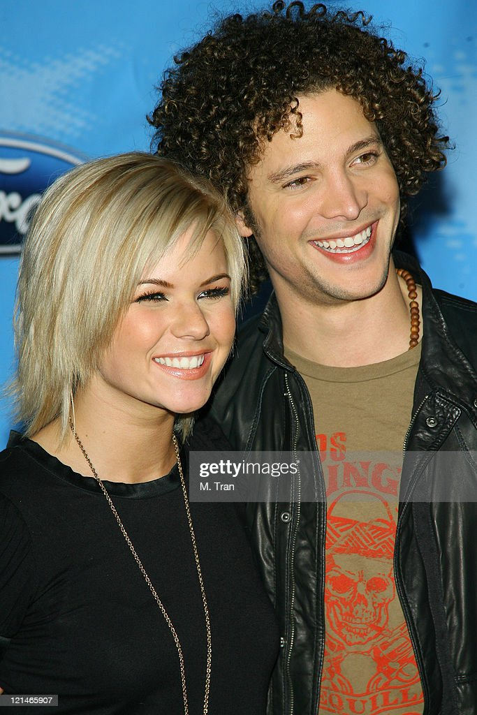 Kimberly Caldwell and Justin Guarini during American Idol Celebrates the Top 12 Contestants at Astra West Pacific Design Center in West Hollywood...