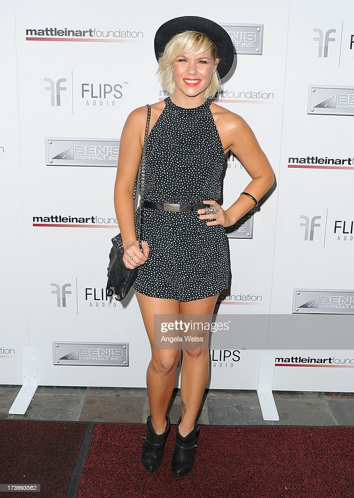<a gi-track='captionPersonalityLinkClicked' href=/galleries/search?phrase=Kimberly+Caldwell&family=editorial&specificpeople=228566 ng-click='$event.stopPropagation()'>Kimberly Caldwell</a> arrives at the Matt Leinart Foundation's 7th Annual 'Celebrity Bowl' at Lucky Strike Bowling Alley on July 18, 2013 in Hollywood, California.