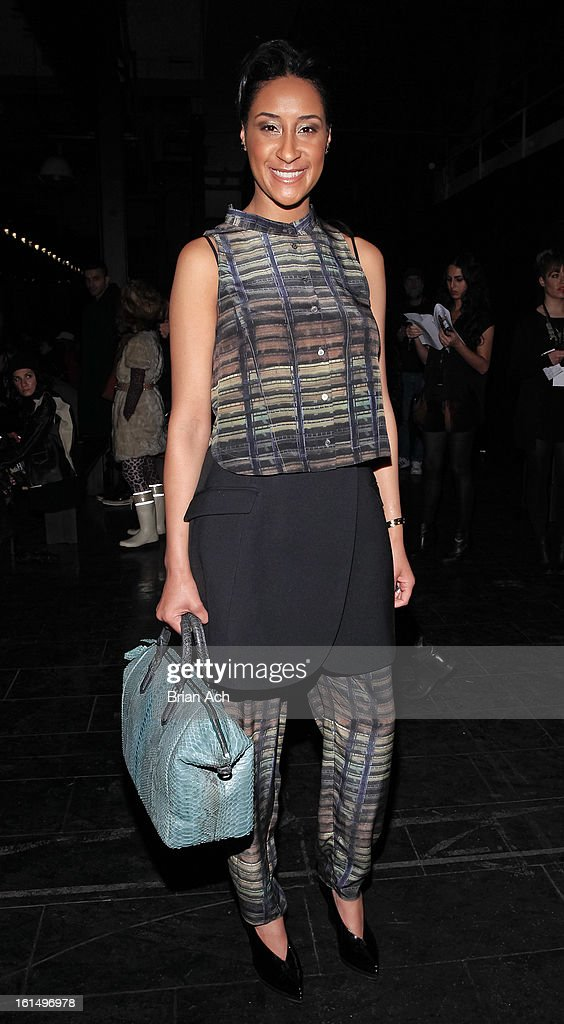 Kimberly Chandler attends the Theyskens' Theory fall 2013 fashion show during Mercedes-Benz Fashion Week at Skylight Studios at Moynihan Station on February 11, 2013 in New York City.