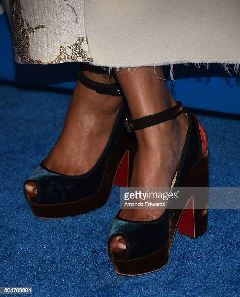 Kimberly Chandler shoe detail arrives at the 6th Biennial UNICEF Ball at the Beverly Wilshire Four Seasons Hotel on January 12 2016 in Beverly Hills...