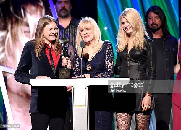 Kimberly Cobain and Wendy O'Connor honor Nirvana onstage at the 29th Annual Rock And Roll Hall Of Fame Induction Ceremony at Barclays Center of...