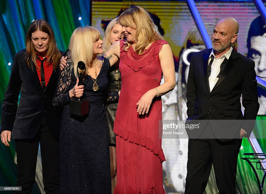 Kimberly Cobain, Wendy O'Connor and Courtney Love onstage at the 29th Annual Rock And Roll Hall Of Fame Induction Ceremony at Barclays Center of Brooklyn on April 10, 2014 in New York City.