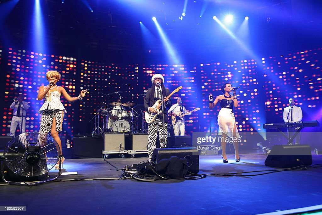 Kimberly Davis, Nile Rodgers and Folami Thompson of Chic perform on stage on Day 14 of iTunes Festival 2013 at The Roundhouse on September 14, 2013 in London, England.