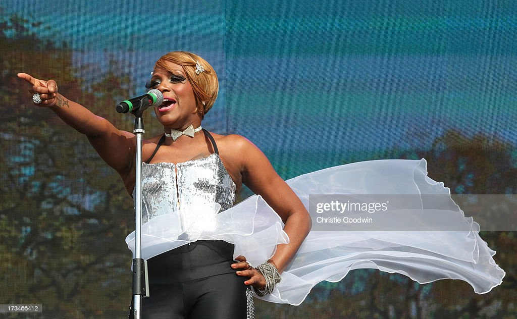 Kimberly Davis of Chic performs on stage at British Summer Time Festival at Hyde Park on July 14, 2013 in London, England.