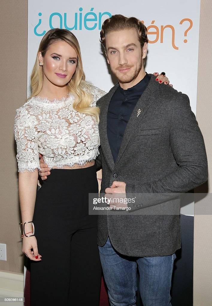 Kimberly Dos Ramos and Eugenio Siller are seen at the premier of Telemundo's 'Quien es Quien' at the Four Seasons on February 9, 2016 in Miami, Florida.
