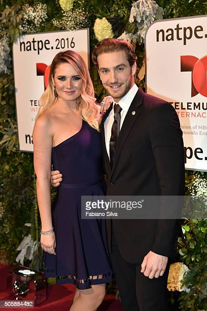 Kimberly Dos Ramos and Eugenio Siller attend Telemundo NATPE party on January 19 2016 in Miami Beach Florida