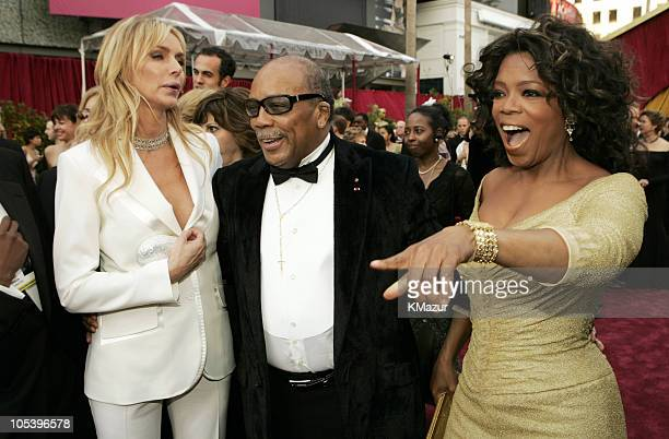 Kimberly Hefner Quincy Jones and Oprah Winfrey during The 77th Annual Academy Awards Red Carpet at Kodak Theatre in Hollywood California United States
