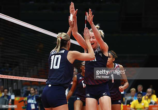 Kimberly Hill and Jordan LarsonBurbach of United States celebrate a point during the Women's Bronze Medal Match between Netherlands and the United...