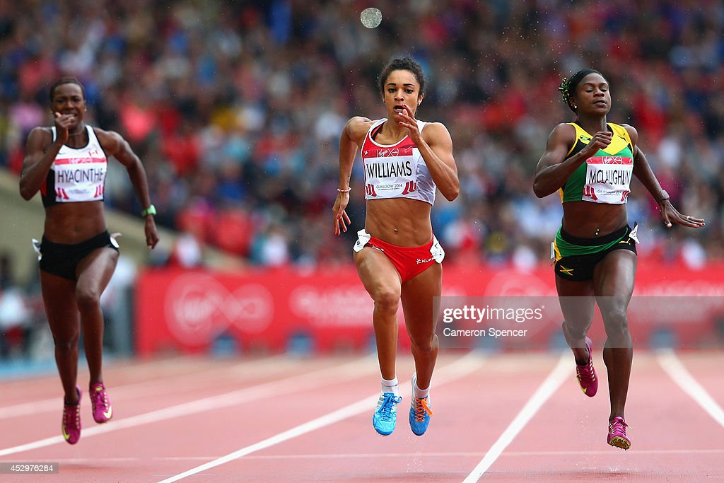 Kimberly Hyacinthe of Canada, <a gi-track='captionPersonalityLinkClicked' href=/galleries/search?phrase=Jodie+Williams+-+Sprinter&family=editorial&specificpeople=5964402 ng-click='$event.stopPropagation()'>Jodie Williams</a> of England, Anneisha McLaughlin of Jamaica and Blessing Okagbare of Nigeria compete in the Women's 200 metres Semi Final at Hampden Park during day eight of the Glasgow 2014 Commonwealth Games on July 31, 2014 in Glasgow, United Kingdom.