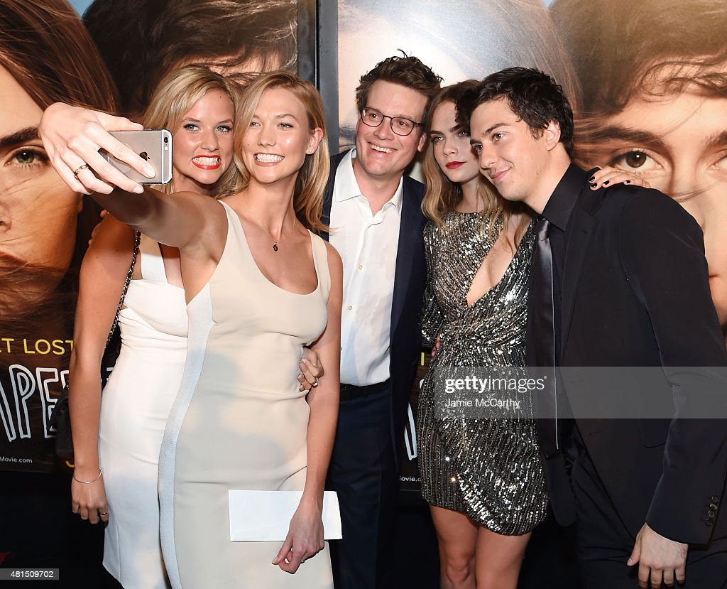 Kimberly Kloss, Karlie Kloss, John Green, Cara Delevingne and Nat Wolff attend the New York premiere of 'Paper Towns' at AMC Loews Lincoln Square on July 21, 2015 in New York City.