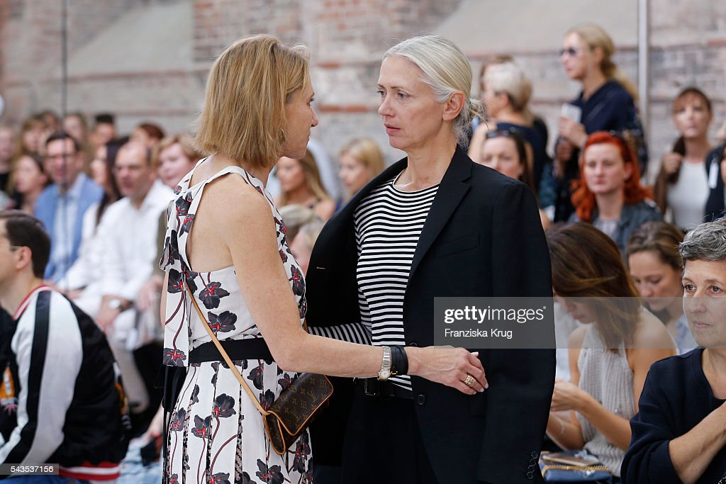 Kimberly Marteau Emerson (L) and <a gi-track='captionPersonalityLinkClicked' href=/galleries/search?phrase=Christiane+Arp&family=editorial&specificpeople=2942750 ng-click='$event.stopPropagation()'>Christiane Arp</a> attend the Dorothee Schumacher show during the Mercedes-Benz Fashion Week Berlin Spring/Summer 2017 at Elisabethkirche on June 29, 2016 in Berlin, Germany.