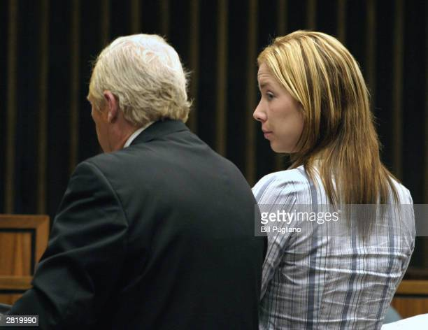Kimberly Mathers stands before Judge Ed Servitto at Macomb County Circuit Court December 18 2003 in Mt Clemens Michigan Mathers pleaded guilty to...