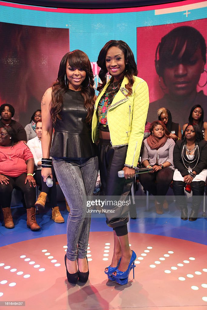 Kimberly 'Paigion' Walker and Kayla Brianna Smith visit BET's '106 & Park' at BET Studios on February 13, 2013 in New York City.