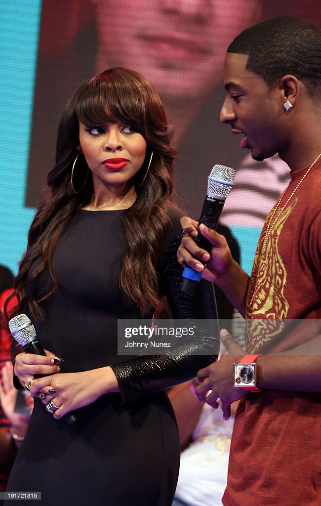 Kimberly 'Paigion' Walker and Shorty Da Prince host BET's '106 & Park' at BET Studios on February 14, 2013 in New York City.