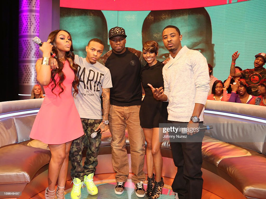 Kimberly 'Paigion' Walker, Bow Wow, 50 Cent, Miss Mykie and Shorty Da Prince visit BET's '106 & Park' at BET Studios on January 17, 2013 in New York City.