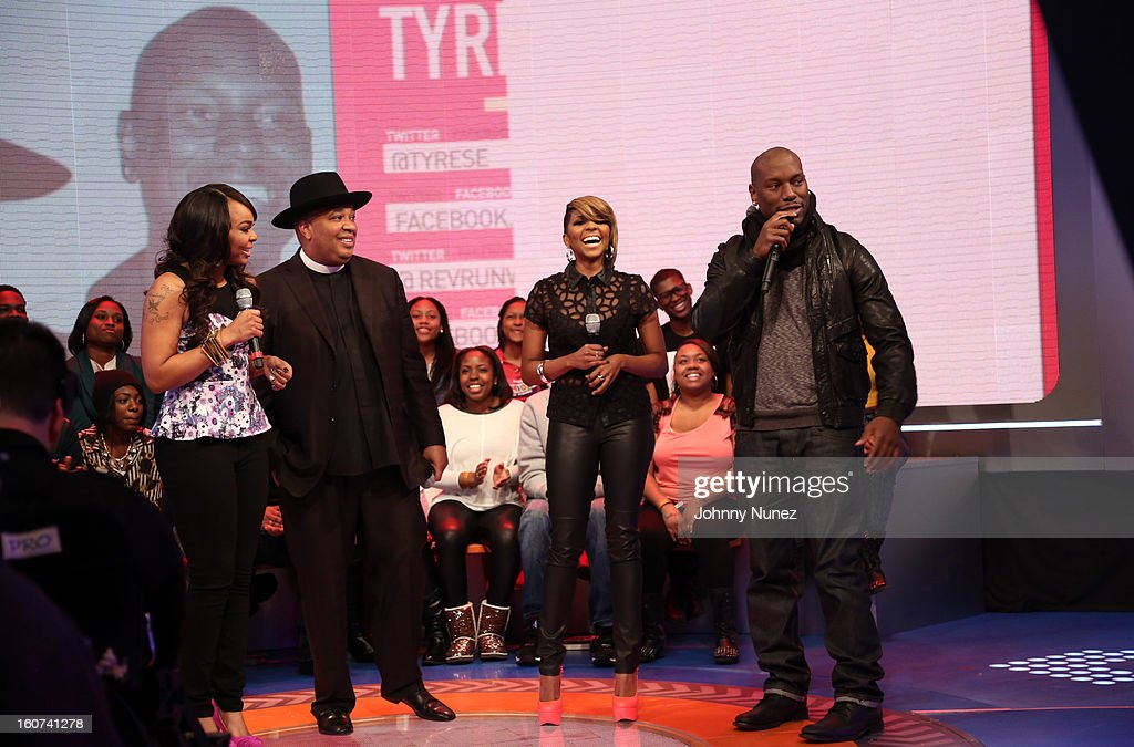 Kimberly 'Paigion' Walker, Rev Run, Ms. Mykie, and Tyrese visit BET's '106 & Park' at 106 & Park Studio on February 4, 2013 in New York City.
