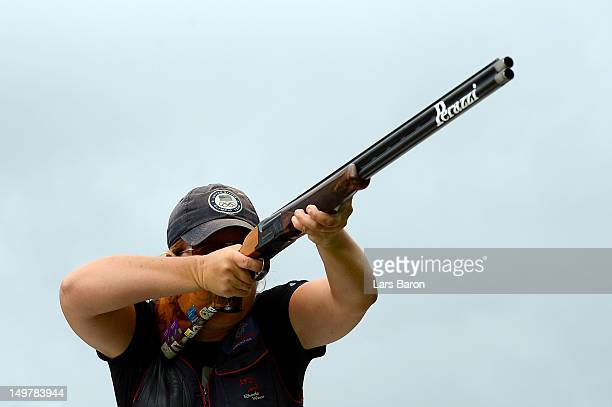 Kimberly Rhode of the United States competes during the Women's Trap Shooting Qualification on Day 8 of the London 2012 Olympic Game at the Royal...