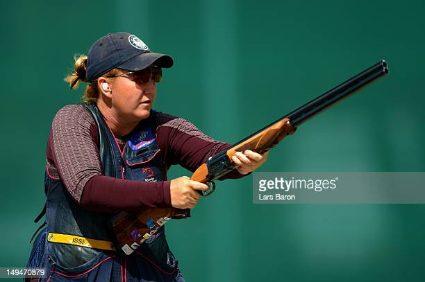 Kimberly Rhode of the United States competes in the qualification round of the Women's Skeet Shooting on Day 2 of the London 2012 Olympic Games at...