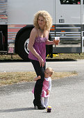Kimberly Roads Schlapman of the band Little Big Town is seen backstage with her daughter Daisy Pearl at the 999 Kiss Country 24th Annual Chili Cook...