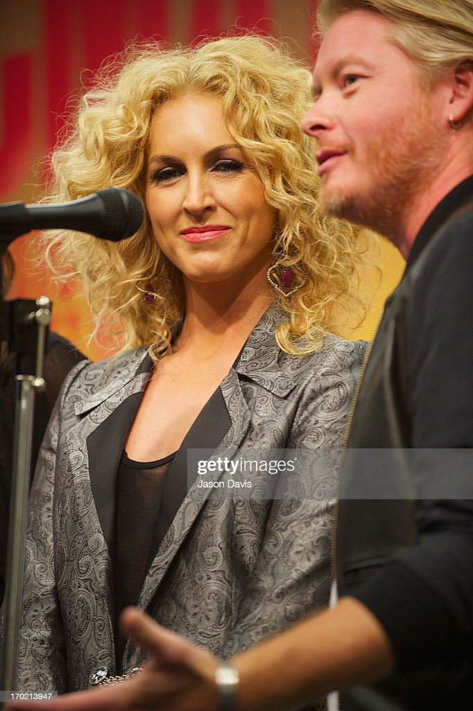 Kimberly Schalpman and Philip Sweet of Little Big Town speak during the 2013 CMA Music Festival on June 8, 2013 in Nashville, Tennessee.