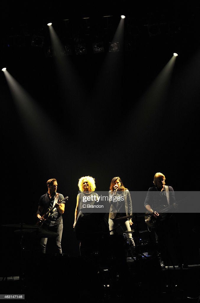Kimberly Schlapman Jimi Westbrook Karen Fairchild and Phillip Sweet of Little Big Town perform on stage at Shepherds Bush Empire on February 10 2015...
