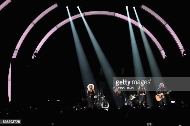 Kimberly Schlapman Jimi Westbrook Karen Fairchild and Phillip Sweet of Little Big Town perform onstage at the 2017 CMT Music Awards at the Music City...