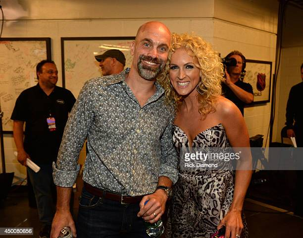 Kimberly Schlapman of Little Big Town and her husband Stephen Scaplapman attend the 2014 CMT Music Awards at Bridgestone Arena on June 4 2014 in...