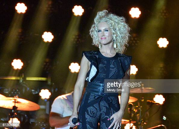 Kimberly Schlapman of Little Big Town performs during the Route 91 Harvest country music festival at the Las Vegas Village on October 2 2016 in Las...