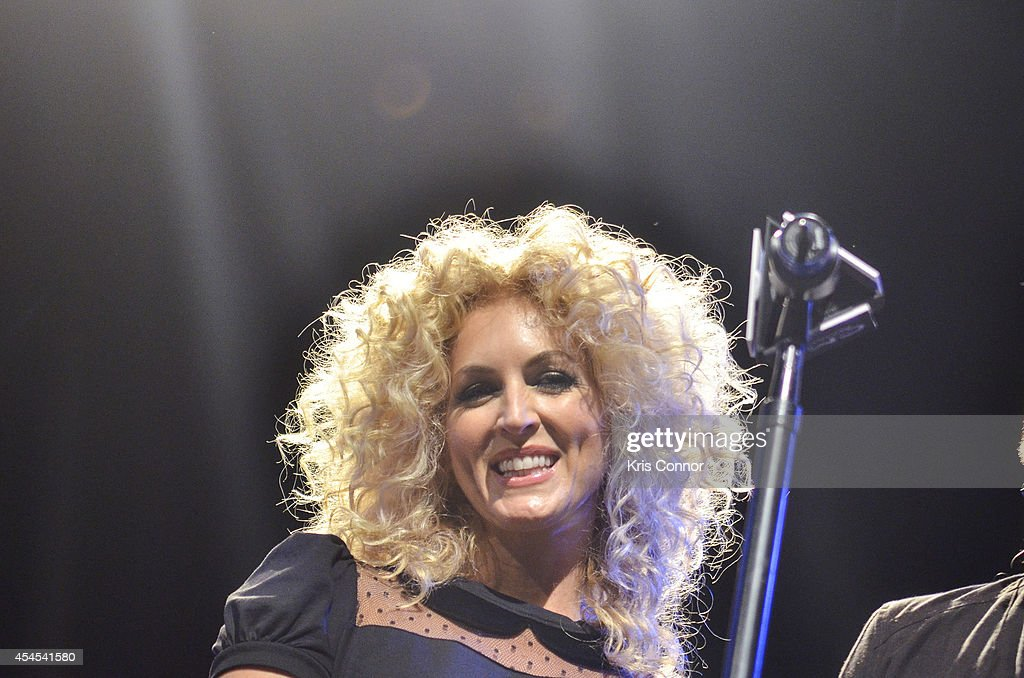 Kimberly Schlapman speaks during the 48th Annual CMA Awards Nominees Announcement at Best Buy Theater on September 3, 2014 in New York City.