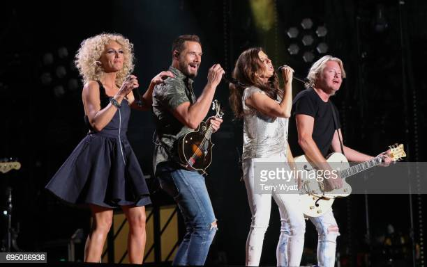 Kimberly SchlapmanJimi Westbrook Karen Fairchild and Philip Sweet of Little Big Town perform during day 4 of the 2017 CMA Music Festival on June 11...