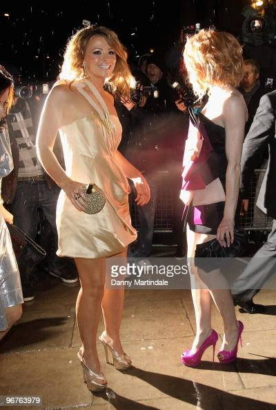 Kimberly Walsh and Nicola Roberts attend the Universal after party for The Brit Awards 2010 at Mandarin Oriental Hyde Park on February 16 2010 in...