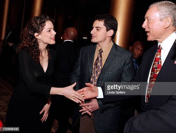 Kimberly Williams is introduced to Senator Orrin Hatch by Brad Paisley at a reception before the Elizabeth Glaser Pediatric Aids Foundation Dinner...